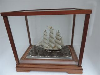 Spectacular Three Masted Signed Solid Sterling Silver 985 Sail Boat Yacht Ship photo