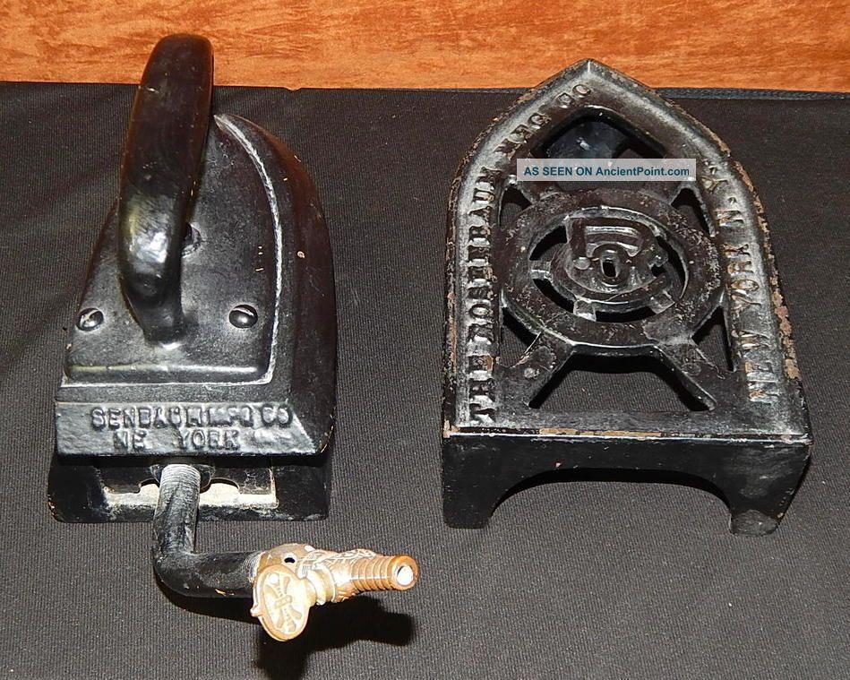 Antique Rosenbaum Mfg Co Large Cast Iron Trivet & Steam Iron New York Trivets photo