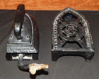 Antique Rosenbaum Mfg Co Large Cast Iron Trivet & Steam Iron New York photo