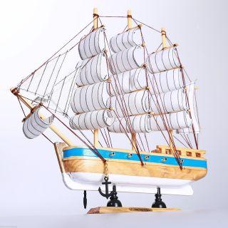 "11"" Handmade Model Ship Marine Beach Nautical Decor Wood Handcrafted Sailboat B photo"