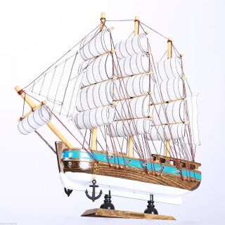 "11.  8"" Wooden Handcrafted Model Ship Marine Beach Home Nautical Decor Sailboat F photo"
