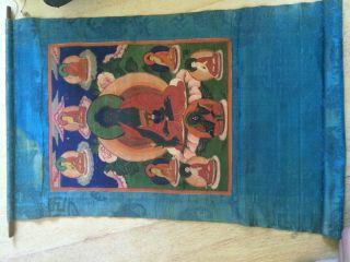 Mongolian Antique Buddhist Old Thangka 18c - 19c (big) photo