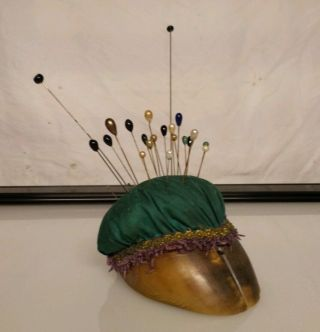 Antique Victorian Hat Stick Pin Cushion Split Hoof Collection Brass Floral photo