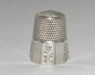 Antique Sterling Silver Simons Bros Ornate Etched Panel Thimble Sz10 photo