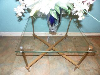 Vintage Mid Century Cross Base Side Table Wood Brass Glass photo
