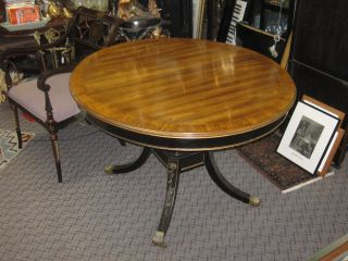 Round Regency Style Table Gold & Black W/ 2 Leaves On Brass Casters photo