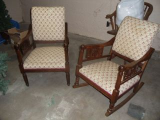 Antique Oak Rocker And Armed Chair (matching) - Ornately Carved Details photo