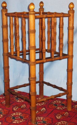 Vintage Wood Umbrella Walking Stick Cane Stand Bamboo Style photo