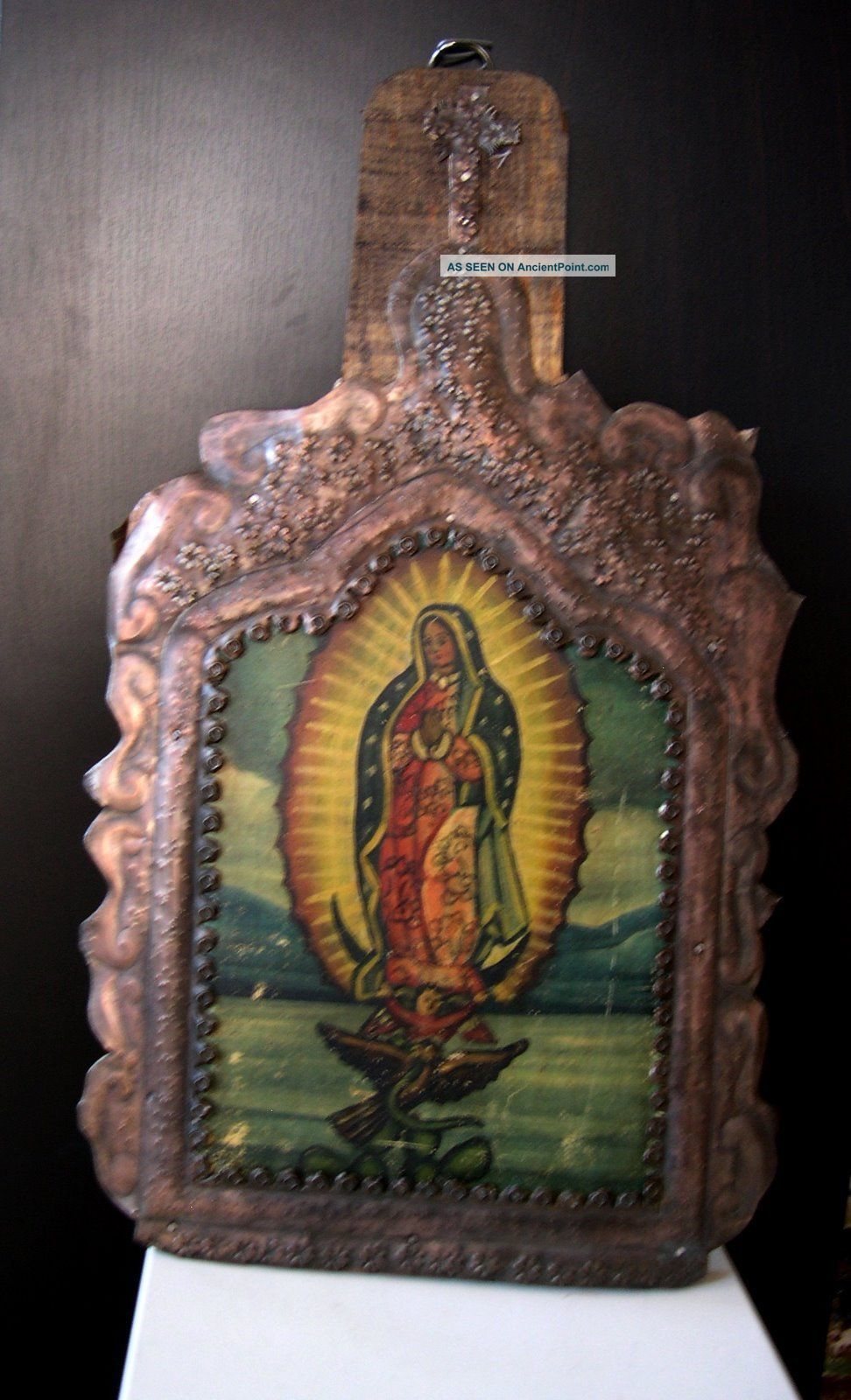 Antique Mexico Religious Icon Tooled Tin Wood Retablo Virgin Virgen De Guadalupe Latin American photo