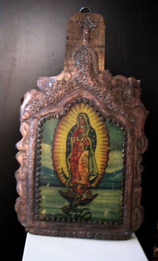 Antique Mexico Religious Icon Tooled Tin Wood Retablo Virgin Virgen De Guadalupe photo