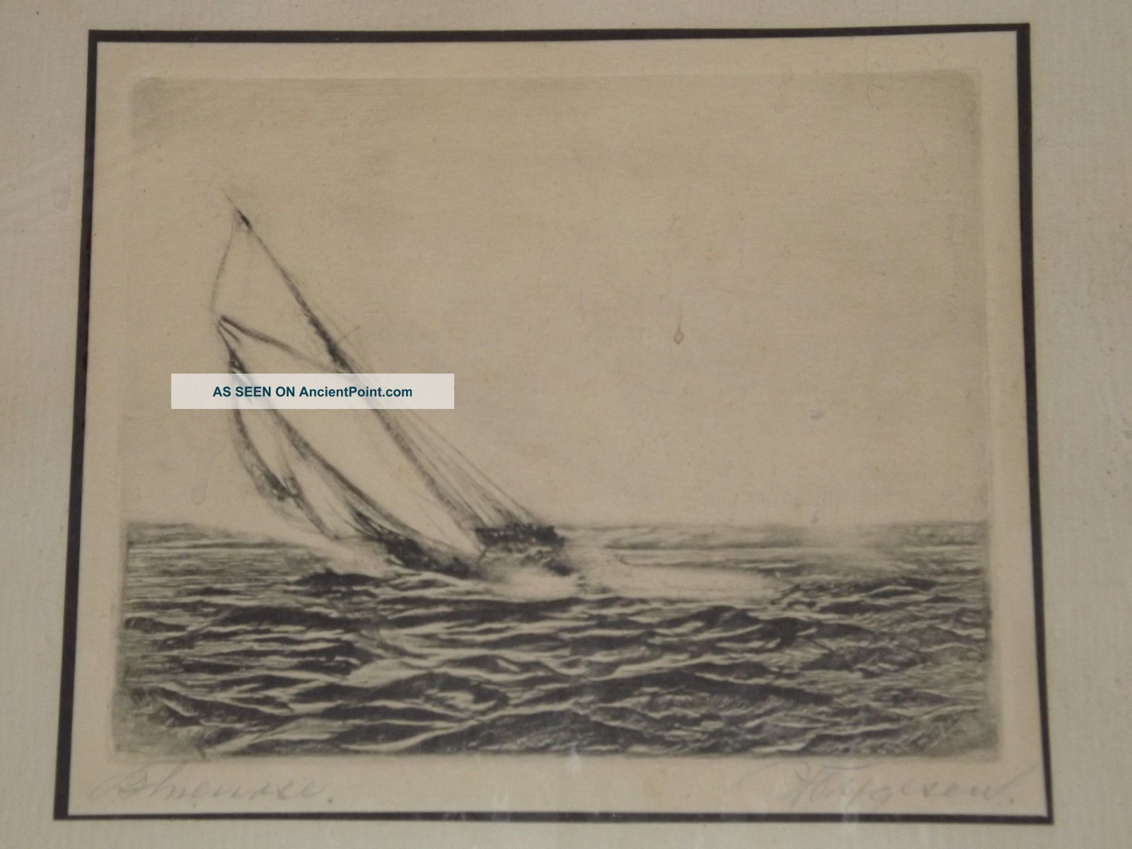 Rare Nova Scotia Bluenose Etching C1935 Listed Canadian Artist Halfred Tygesen Other photo