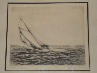 Rare Nova Scotia Bluenose Etching C1935 Listed Canadian Artist Halfred Tygesen photo
