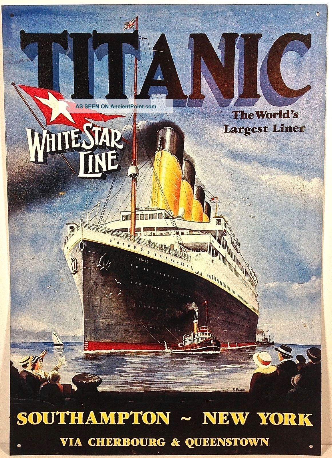Titanic White Star Line Sign Metal Tin Southhampton New York Advertising Wall Plaques & Signs photo