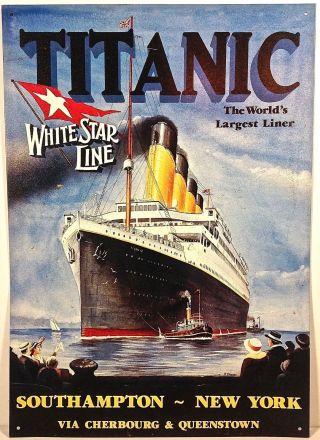Titanic White Star Line Sign Metal Tin Southhampton New York Advertising Wall photo