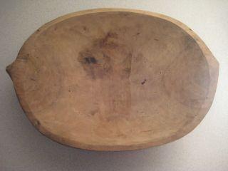 Antique Primitive Wooden Bowl Rustic Collectible Home Decor 14x10x3 Inches photo