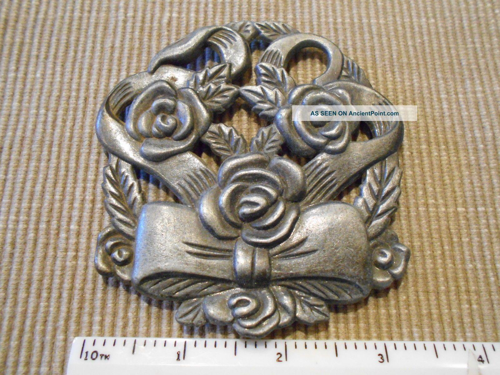 Antique Metal Trivet Floral Flowers With Bow Ribbon Design Trivets photo