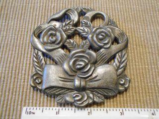 Antique Metal Trivet Floral Flowers With Bow Ribbon Design photo
