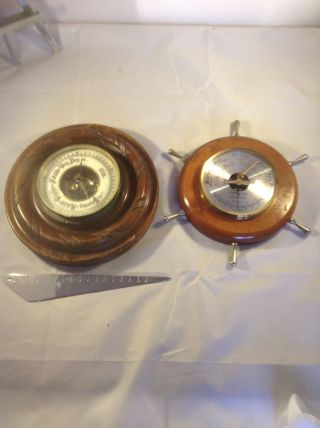 Two Wonderful Wooden Barometers photo