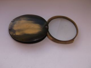 Antique Georgian / Victorian Pocket Horn Magnifying Glass / Jewellers Glass - 2 photo