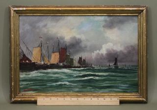 Small Antique Sgnd Weber Sailboat Ship Harbor Maritime Seascape Oil Painting photo