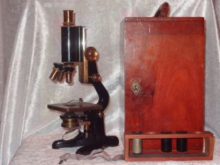 Vintage W Watson & Sons & Glover Scientific Microscope Box & Key 1927 photo