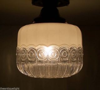 762 Vintage 30s 40s Ceiling Light Lamp Fixture Glass Re - Wired Kitchen Hall Porch photo