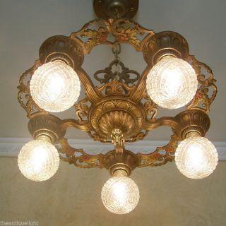 677 Vintage 20s 30s Ceiling Light Lamp Fixture Art Nouveau Polychrome Chandelier photo