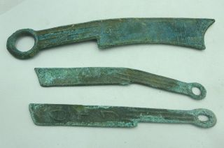 Chinese Old Dynasty Palace Bronze Three Knife Shaped Coin Combination 60 photo