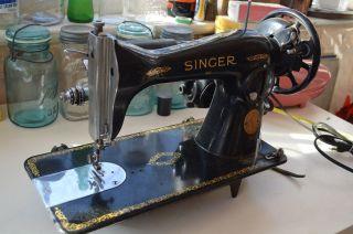 Antique Treadle Singer Sewing Machine Head Unit Gold Litho Graphics Art Vtg Rare photo