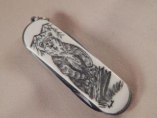 Scrimshaw Resin Multi Tool Key Ring Knife Standing Bear photo