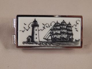 Scrimshaw Resin Silver Money Clip Side Ship - Lighthouse photo