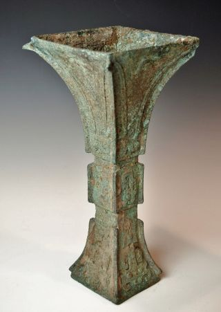 Antique Chinese Bronze Gu Late Shang Dynasty Archaic Wine Vessel photo