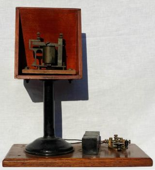 Antique Telegraph Set Key Sounder Resonator Foote Cincinnati Train Station photo