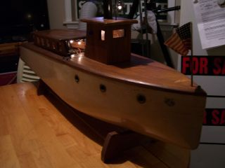 Wooden Live Fired Steam Boat,  Electric Lighted,  42