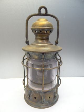Antique Brass Glass E Miller & Co Nautical Maritime Ship Mast Lantern Perkins? photo