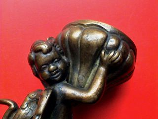 Exceptional Antique Baroque Bronze Putto Holy Water Font,  18th Century Ad photo