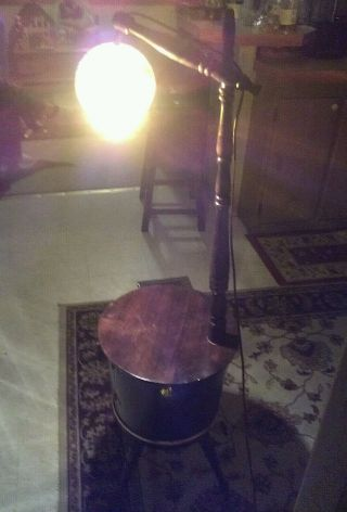 Very Antique Solid Wood Keg Table Floor Lamp,  Very Well Made photo