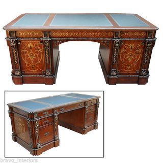 Desk Antique Spanish Style Solid Mahogany Leather Insets Inlaid Handmade New photo