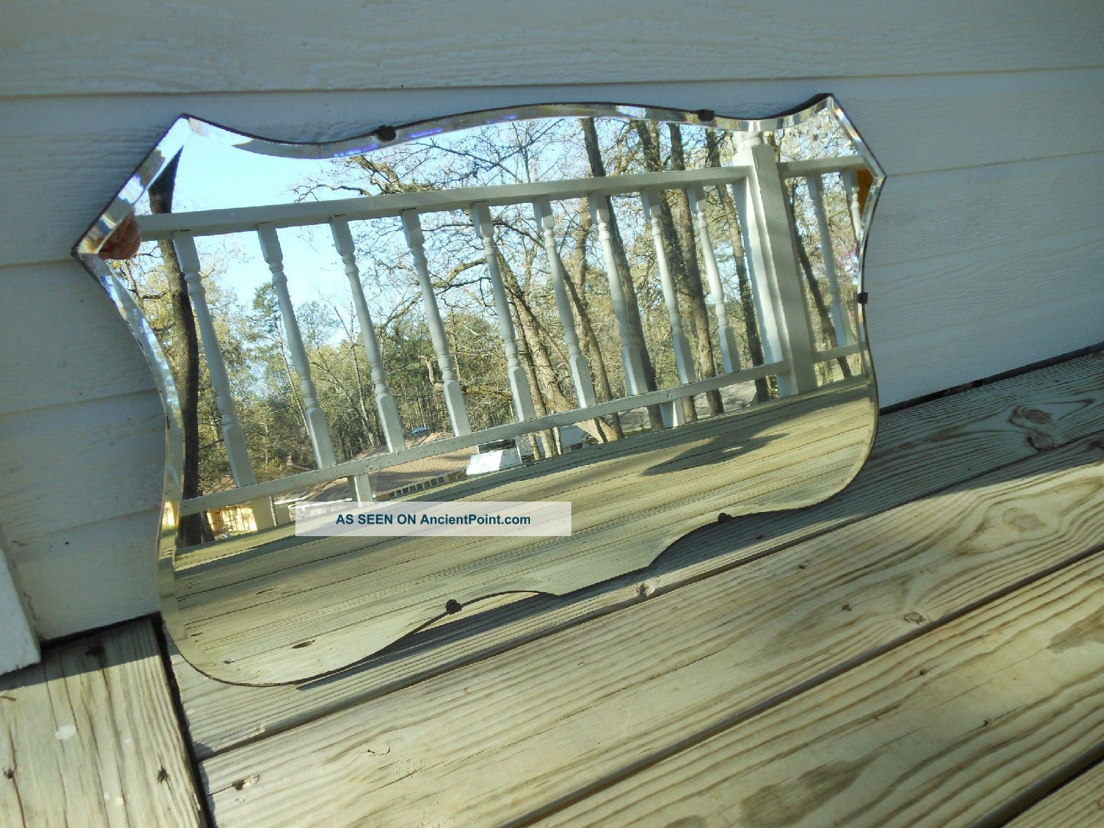 79 Unique Shaped Beveled Edge Frameless Art Deco Style Mirror From England