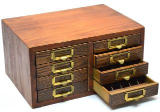 Antique 8 - Drawer Chest Typesetting Printer ' S Font Cabinet Great For Marbles Too photo