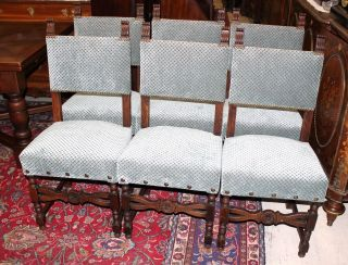 Set Of 6 Antique French Oak Henry Ii Upholstered Chairs With New Upholstery photo