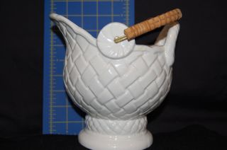 Vintage Ceramic Coal Bucket - White - 7 Inches Tall - Japan photo