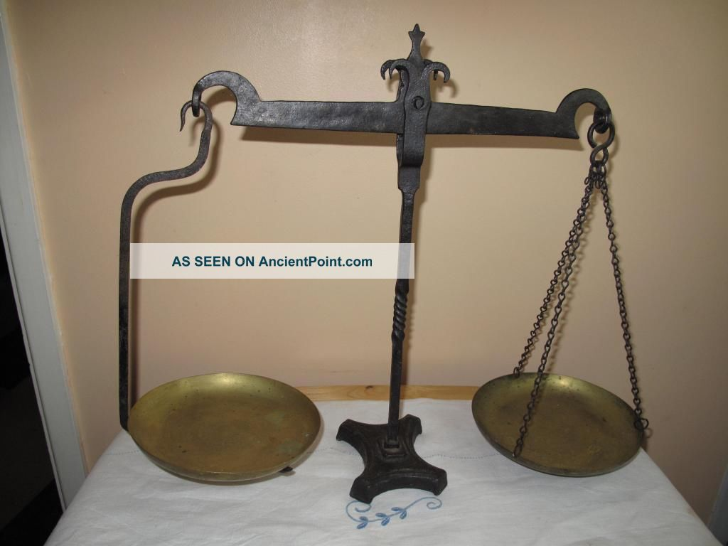 19th Century Weighing Scales Made From Wrought Iron With Brass Trays Other photo