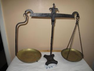 19th Century Weighing Scales Made From Wrought Iron With Brass Trays photo