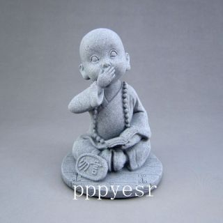 Fine Hand - Carved Chinese Grey Stone Tong Qu Young Monk Statue - 勿言 photo