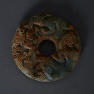 Chinese Handwork Carved Dragon&tiger Pattern Jade