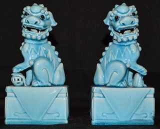 Chinese Turquoise High Glaze Foo Dogs,  Lead Filled Base photo