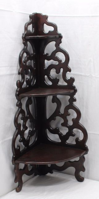 Antique Wooden Corner Wall Shelf Fretwork Scrolled Arts & Crafts 3 Tier 180326 photo
