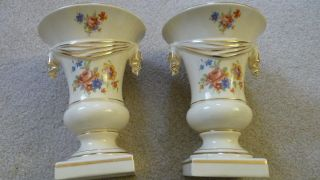 Vintage Urn/vases Floral Gold Trim Ceramic P196 (2) Set photo