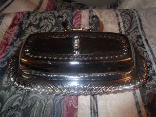Vintage Silverplate Irvinware Butter Dish With Glass Insert photo